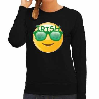 Irish emoticon st patricks day sweater kostuum zwart dames