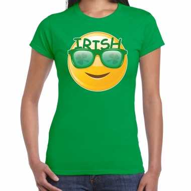 Irish emoticon st patricks day t-shirt kostuum groen dames