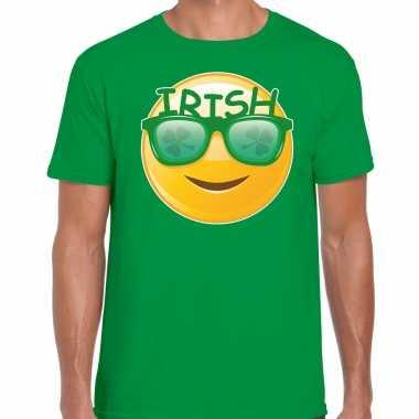 Irish emoticon st patricks day t-shirt kostuum groen heren