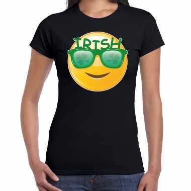 Irish emoticon st patricks day t-shirt kostuum zwart dames
