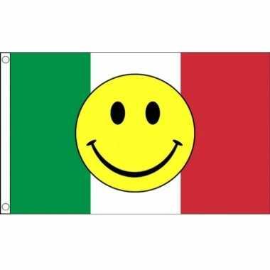 Italiaanse vlag met emoticon 90 x 150 cm