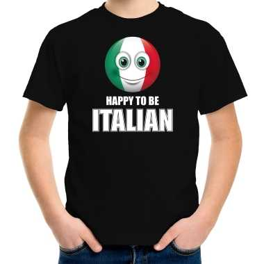Italie emoticon happy to be italian landen t shirt zwart kinderen