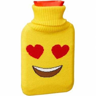 Kruik met gele hoes/hartjesogen emoticon 1 liter