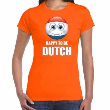 Nederland emoticon happy to be dutch landen t shirt oranje dames