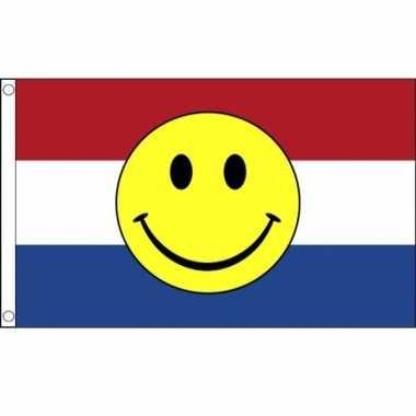 Nederlandse vlag met emoticon 90 x 150 cm
