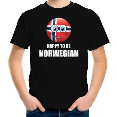 Noorwegen emoticon happy to be norwegian landen t shirt zwart kinderen