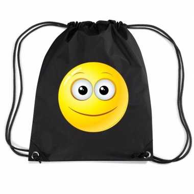 Nylon emoticon smile vrolijk rugzak zwart met rijgkoord