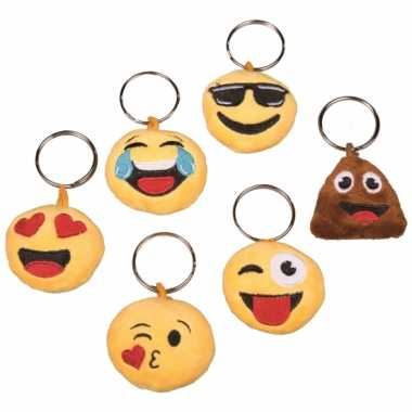 Pluche emoticon crazy face sleutelhanger