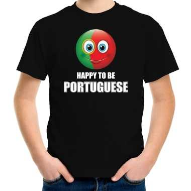 Portugal emoticon happy to be portuguese landen t shirt zwart kinderen