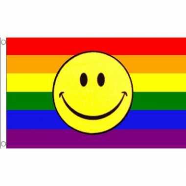 Regenboog emoticon vlag 90 x 150 cm