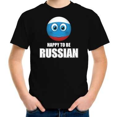Rusland emoticon happy to be russian landen t shirt zwart kinderen