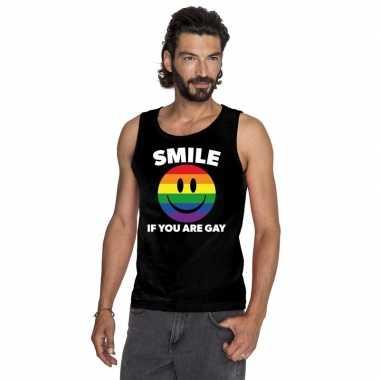 Smile if you are gay emoticon tanktop/ singlet shirt zwart heren