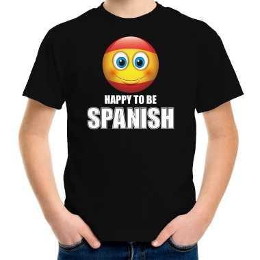 Spanje emoticon happy to be spanish landen t shirt zwart kinderen