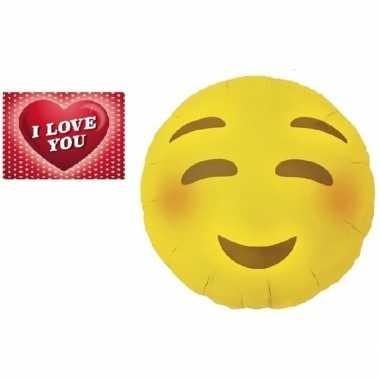 Valentijn folie ballon bloos emoticon 46 cm met valentijnskaart