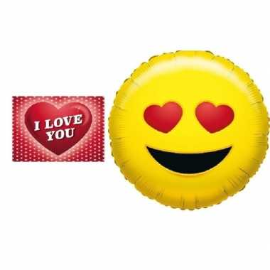 Valentijn folie ballon verliefde emoticon 35 cm met valentijnskaart