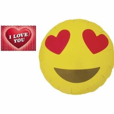 Valentijn folie ballon verliefde emoticon 46 cm met valentijnskaart