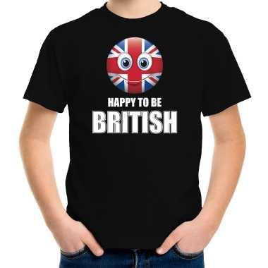Verenigd koninkrijk emoticon happy to be british landen t shirt zwart kinderen