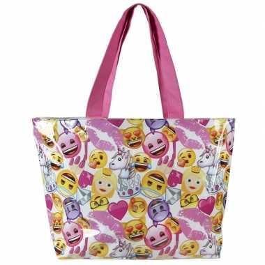 Wit/roze emoji/emoticon strandtas/zwemtas voor meisjes 48 cm