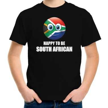 Zuid afrika emoticon happy to be south african landen t shirt zwart kinderen
