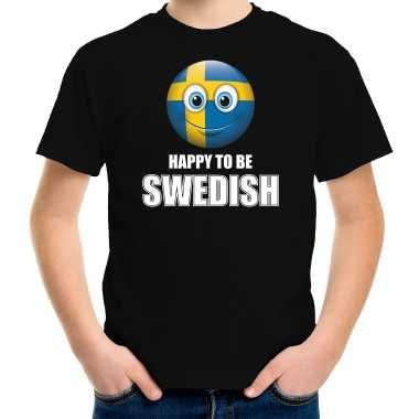 Zweden emoticon happy to be swedish landen t shirt zwart kinderen