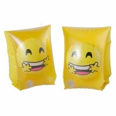 Zwembandjes/zwemvleugels met emoticon geel