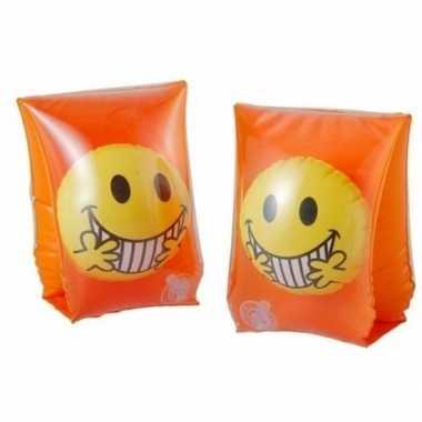 Zwembandjes/zwemvleugels met emoticon oranje