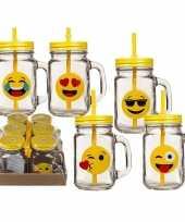 6x glazen emotion drinkbekers drinkpotjes met rietje 450 ml