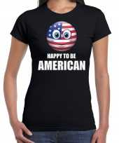 Amerika emoticon happy to be american landen t-shirt zwart dames