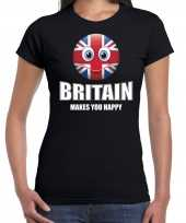 Britain makes you happy landen t-shirt verenigd koninkrijk zwart voor dames met emoticon
