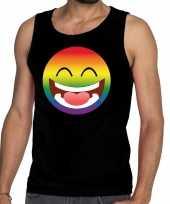 Emoticon emoji regenboog gay pride tanktop zwart heren
