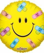 Folie ballon emoticon met pleisters 45 cm