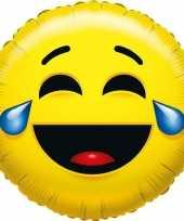 Folie ballon huilen van het lachen emoticon 45 cm