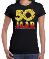 Funny emoticon 50 jaar cadeau shirt zwart voor dames