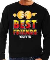 Funny emoticon sweater best friends forever zwart heren