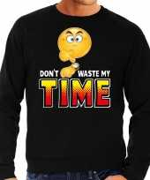 Funny emoticon sweater dont waste my time zwart heren