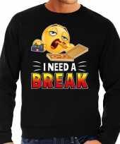 Funny emoticon sweater i need a break zwart heren