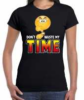 Funny emoticon t-shirt dont waste my time zwart voor dames