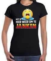 Funny emoticon t-shirt het is hier weer om te janken zwart voor