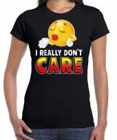 Funny emoticon t-shirt i really dont care zwart dames