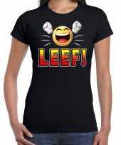 Funny emoticon t-shirt leef zwart voor dames