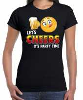 Funny emoticon t-shirt lets cheers its party time zwart dames