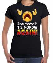 Funny emoticon t-shirt oh nooo its monday again zwart dames
