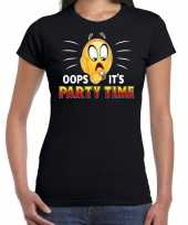 Funny emoticon t-shirt oops it is party time zwart dames