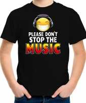 Funny emoticon t-shirt please dont stop the music zwart kids