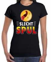 Funny emoticon t-shirt slecht spul zwart voor dames