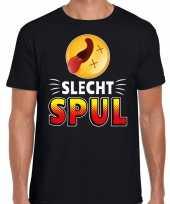 Funny emoticon t-shirt slecht spul zwart voor heren