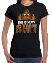 Funny emoticon t-shirt this is heavy shit zwart dames