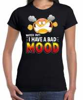 Funny emoticon t-shirt watch out i have a bad mood zwart voor da