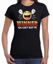 Funny emoticon t-shirt winner you cant beat mezwart voor dames