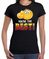 Funny emoticon t-shirt you are the best zwart voor dames